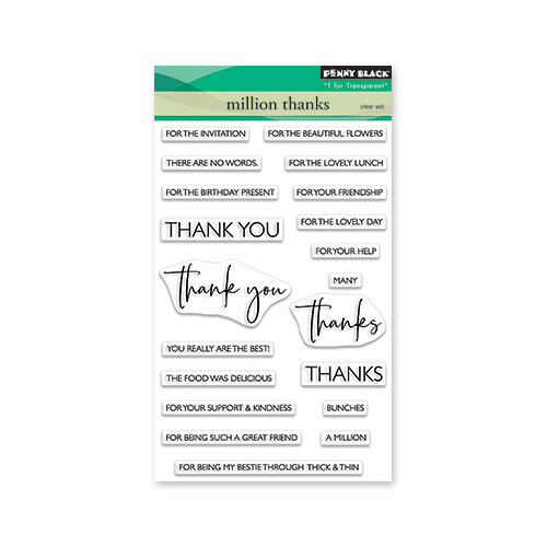 Penny Black - Secret Garden Collection - Clear Photopolymer Stamps - Million Thanks