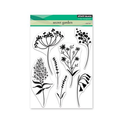 Penny Black - Secret Garden Collection - Clear Photopolymer Stamps - Secret Garden