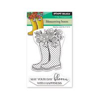 Penny Black - Secret Garden Collection - Clear Photopolymer Stamps - Blossoming Boots