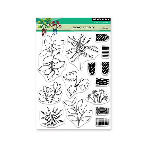 Penny Black - Clear Photopolymer Stamps - Groovy Greenery
