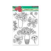 Penny Black - Secret Garden Collection - Clear Photopolymer Stamps - Wings And Vases
