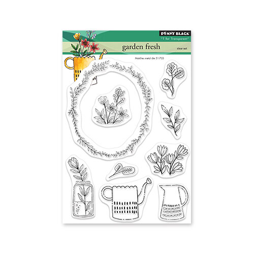Penny Black - Delight Collection - Clear Photopolymer Stamps - Garden Fresh