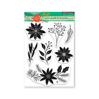 Penny Black - Christmas - Making Spirits Bright Collection - Clear Photopolymer Stamps - Petals and Branches