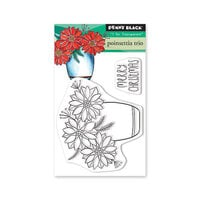 Penny Black - Christmas - Making Spirits Bright Collection - Clear Photopolymer Stamps - Poinsettia Trio