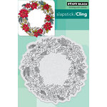 Penny Black - Christmas - Cling Mounted Rubber Stamps - Poinsettia Wreath