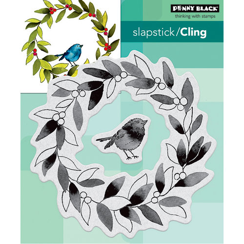 Penny Black - Christmas - Cling Mounted Rubber Stamps - Tweet Wreath