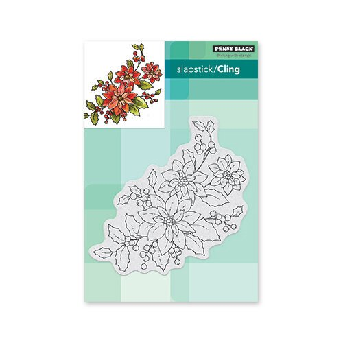 Penny Black - Christmas - Cling Mounted Rubber Stamps - Poinsettia Poem