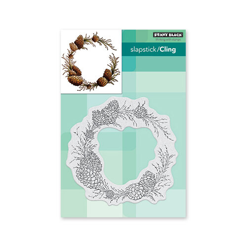 Penny Black - Christmas - First Snow Collection - Cling Mounted Rubber Stamps - Conifer Wreath