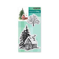 Penny Black - Cling Mounted Rubber Stamps - Christmas - Cozy Cabin