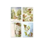 Penny Black - Home For Christmas Collection - 3.25 x 4.5 Premium Cardstock Pack - Pinecones and Peace