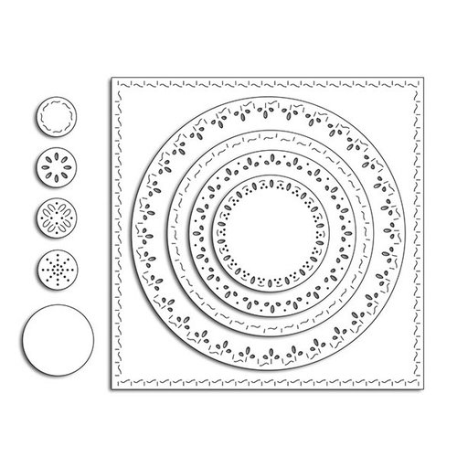 Penny Black - Creative Dies - Stitched Square and Circles