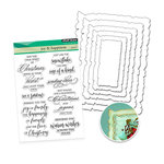 Penny Black - Christmas - Die and Acrylic Stamp Set - Antique Joy and Happiness Bundle