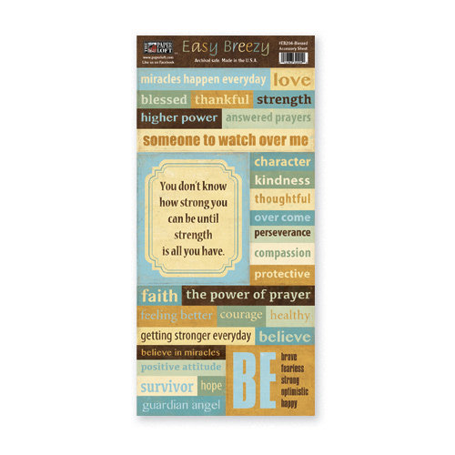 The Paper Loft - Easy Breezy Collection - Cardstock Pieces - Blessed