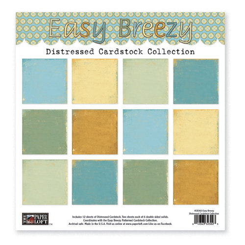 The Paper Loft - Easy Breezy Collection - 12 x 12 Distressed Cardstock Pack