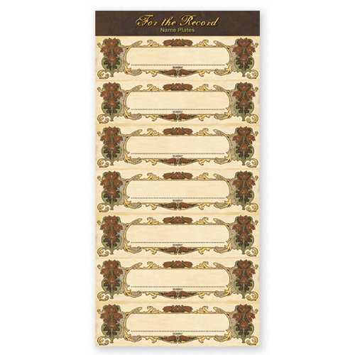 The Paper Loft - For the Record Collection - Cardstock Pieces - Name Plates - Small