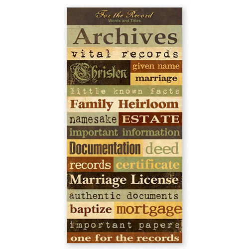 The Paper Loft - For the Record Collection - Cardstock Pieces - Generation - Words and Titles