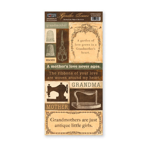 The Paper Loft - Gentler Times Collection - Cardstock Pieces - Grandma