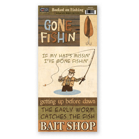 The Paper Loft - Hooked on Fishing Collection - Cardstock Pieces - Gone Fishin'