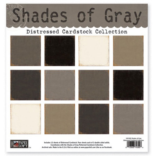 The Paper Loft - Shades of Gray Collection - 12 x 12 Distressed Cardstock Pack
