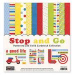 The Paper Loft Collection - Stop and Go Collection - 12 x 12 Patterned and Distressed Cardstock Pack