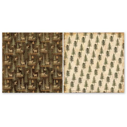 The Paper Loft - Scattered Pine Mountain Collection - 12 x 12 Double Sided Paper - Fawn Lake Forest