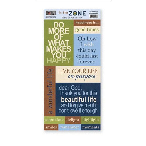 The Paper Loft - In the Zone Collection - Cardstock Pieces - Happy