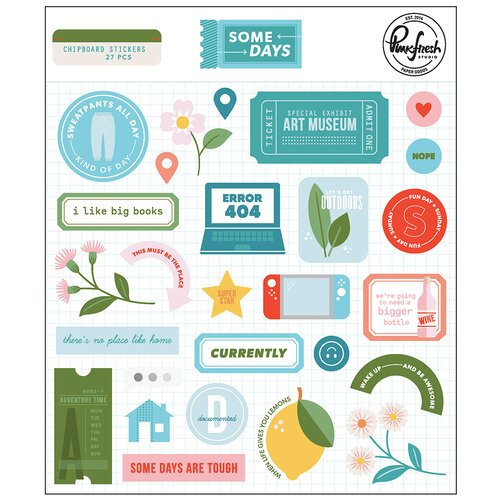 Pinkfresh Studio - Some Days Collection - Chipboard Stickers