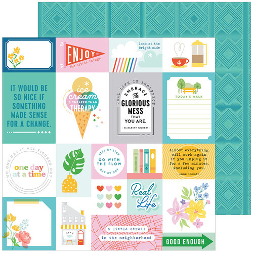 Pinkfresh Studio - Keeping It Real Collection - 12 x 12 Double Sided Paper - Reality Check