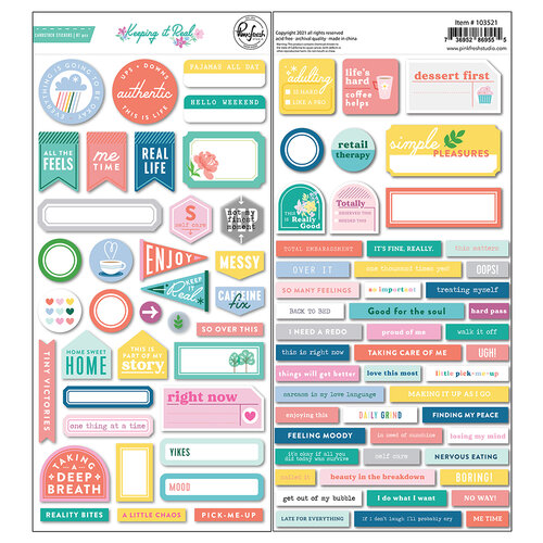 Pinkfresh Studio - Keeping It Real Collection - Cardstock Stickers