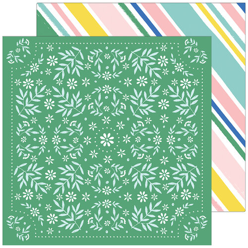 Pinkfresh Studio - Happy Blooms Collection - 12 x 12 Double Sided Paper - Handkerchief