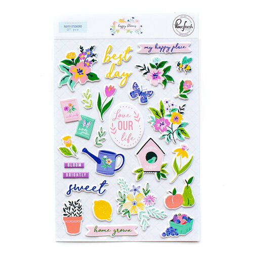 Pinkfresh Studio - Happy Blooms Collection - Puffy Stickers