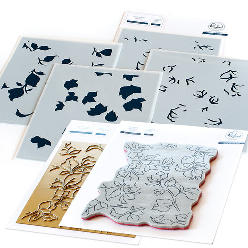 Pinkfresh Studio - Hot Foil Plate, Layering Stencils and Cling Mounted Rubber Stamps Set - Bougainvillea Complete Bundle