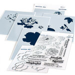 Pinkfresh Studio - Clear Photopolymer Stamps, Layering Stencils and Die Set - Friendship Blooms Complete Bundle