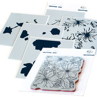 Pinkfresh Studio - Cling Mounted Rubber Stamps and Layering Stencils Set - Floral Focus Bundle
