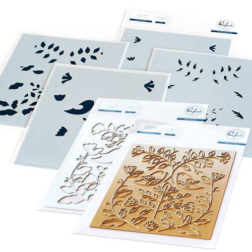 Pinkfresh Studio - Hot Foil Plate, Layering Stencils and Die Set - Folk Art Birds Bundle