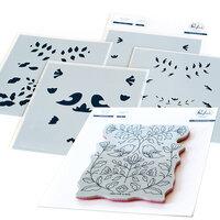 Pinkfresh Studio - Cling Mounted Rubber Stamps and Layering Stencils Set - Folk Art Birds Bundle