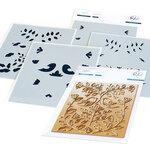 Pinkfresh Studio - Hot Foil Plate and Layering Stencils Set - Folk Art Birds Bundle