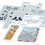 Pinkfresh Studio - Hot Foil Plate, Layering Stencils, Cling Mounted Rubber Stamps and Die Set - Folk Art Birds Complete Bundle