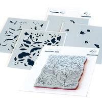 Pinkfresh Studio - Cling Mounted Rubber Stamps and Layering Stencils Set - Folk Garden Bundle