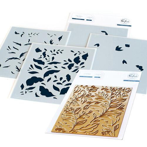 Pinkfresh Studio - Hot Foil Plate and Layering Stencils Set - Folk Garden Bundle