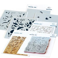 Pinkfresh Studio - Hot Foil Plate, Layering Stencils, Cling Mounted Rubber Stamps and Die Set - Folk Garden Complete Bundle