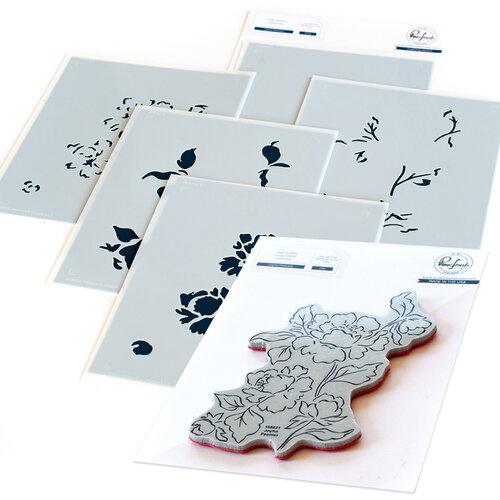 Pinkfresh Studio - Cling Mounted Rubber Stamps and Layering Stencils Set - Joyful Peonies Bundle
