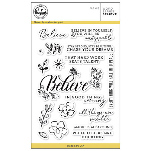 Pinkfresh Studio - Clear Photopolymer Stamps - Word Series - Believe