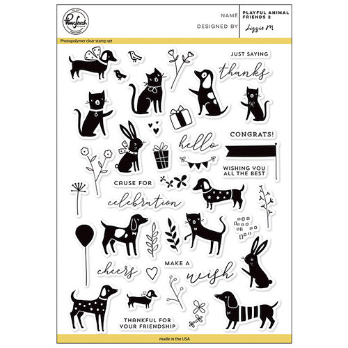 Pinkfresh Studio - Clear Acrylic Stamps - Playful Animal Friends - 2