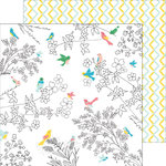 Pinkfresh Studio - Felicity Collection - 12 x 12 Double Sided Paper - Florals and Birds