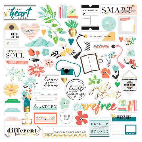 Pinkfresh Studio - Let Your Heart Decide Collection - Ephemera Pack with Foil Accents