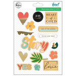 Pinkfresh Studio - Let Your Heart Decide Collection - Wood Veneer Stickers with Foil Accents
