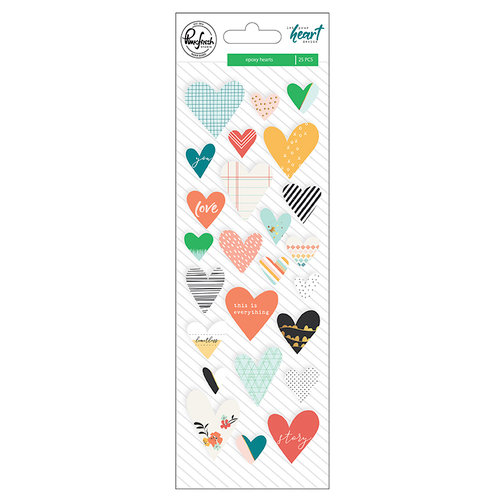 Pinkfresh Studio - Let Your Heart Decide Collection - Epoxy Stickers with Foil Accents - Hearts