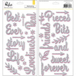 Pinkfresh Studio - Felicity Collection - Glitter Stickers - Words - Silver