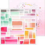 Pinkfresh Studio - Happy Things Collection - 12 x 12 Double Sided Paper - Ombre Mosaic